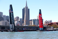 September 8, 2013: EMIRATES TEAM NEW ZEALAND and ORACLE TEAM USA on display during preparation for the days first race at the 34th America's Cup on San Francisco Bay, CA.