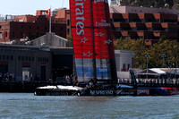 September 8, 2013: EMIRATES TEAM NEW ZEALAND on display during preparation for the days first race at the 34th America's Cup on San Francisco Bay, CA.