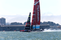September 8, 2013: EMIRATES TEAM NEW ZEALAND heads for the finish line ahead of ORACLE TEAM USA during RACE 3 of the 34th America's Cup on San Francisco Bay, CA.