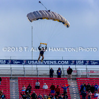Skydiver delivers the ball for Game 45: the final game between South Africa and New Zealand. South Africa win 40-21.