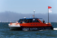 September 8, 2013: Many famous boats such as the Louis Vuitton Official timing boat carrying VIP's on San Francisco Bay during the 34th America's Cup on San Francisco Bay, CA.