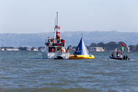 September 8, 2013: The Start marks are towed out to the course in advance of the 34th America's Cup on San Francisco Bay, CA.