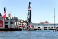 September 8, 2013: ORACLE TEAM USA and EMIRATES TEAM NEW ZEALAND on diplay during preparation for the days first race at the 34th America's Cup on San Francisco Bay, CA.