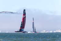 September 8, 2013: EMIRATES TEAM NEW ZEALAND rounds the final mark ahead of ORACLE TEAM USA during RACE 3 of the 34th America's Cup on San Francisco Bay, CA.