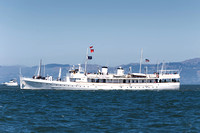 September 8, 2013: Many famous boats such as FDR's Potomac carrying VIP's on San Francisco Bay during the 34th America's Cup on San Francisco Bay, CA.