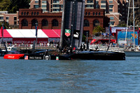 September 8, 2013: ORACLE TEAM USA on display during preparation for the days first race at the 34th America's Cup on San Francisco Bay, CA.
